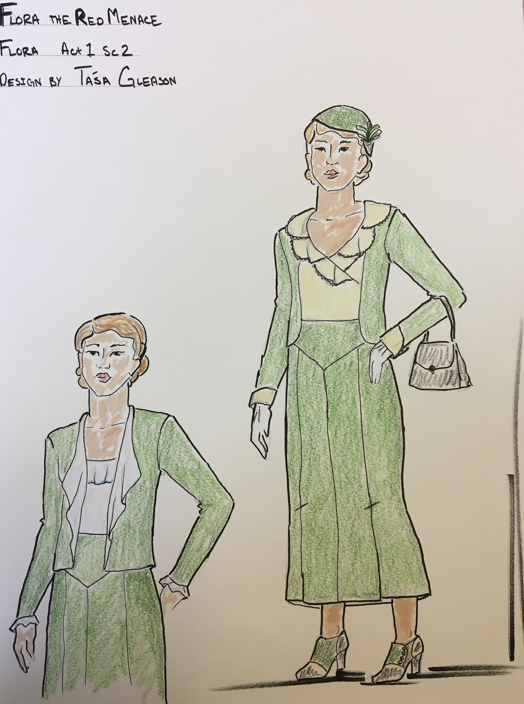 ​  Costume sketch for Flora the Red Menace by Tasa Gleason ​