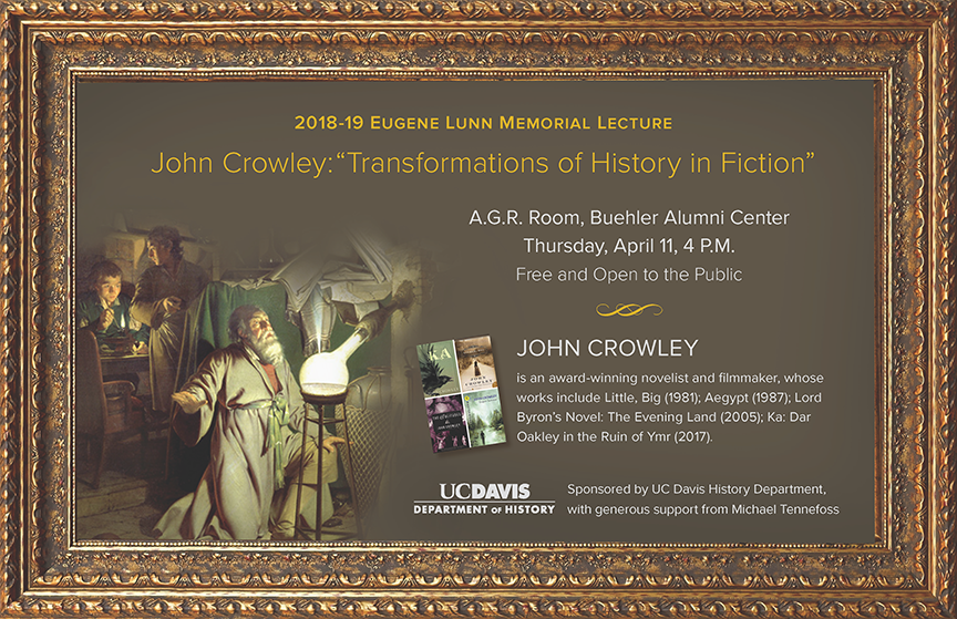 Poster promoting UC Davis Lunn Lecture by author John Crowley