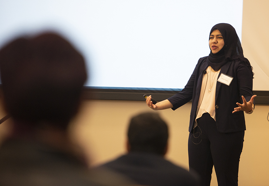 Photo of UC Davis chemistry graduate student giving talk at Grad Slam