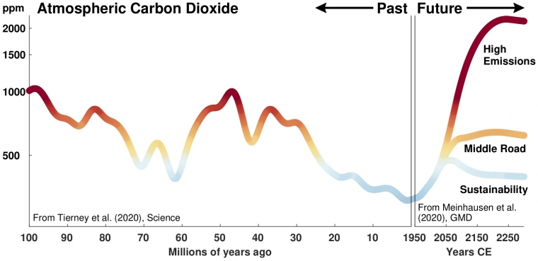 Graph of past and future carbon dioxide concentrations