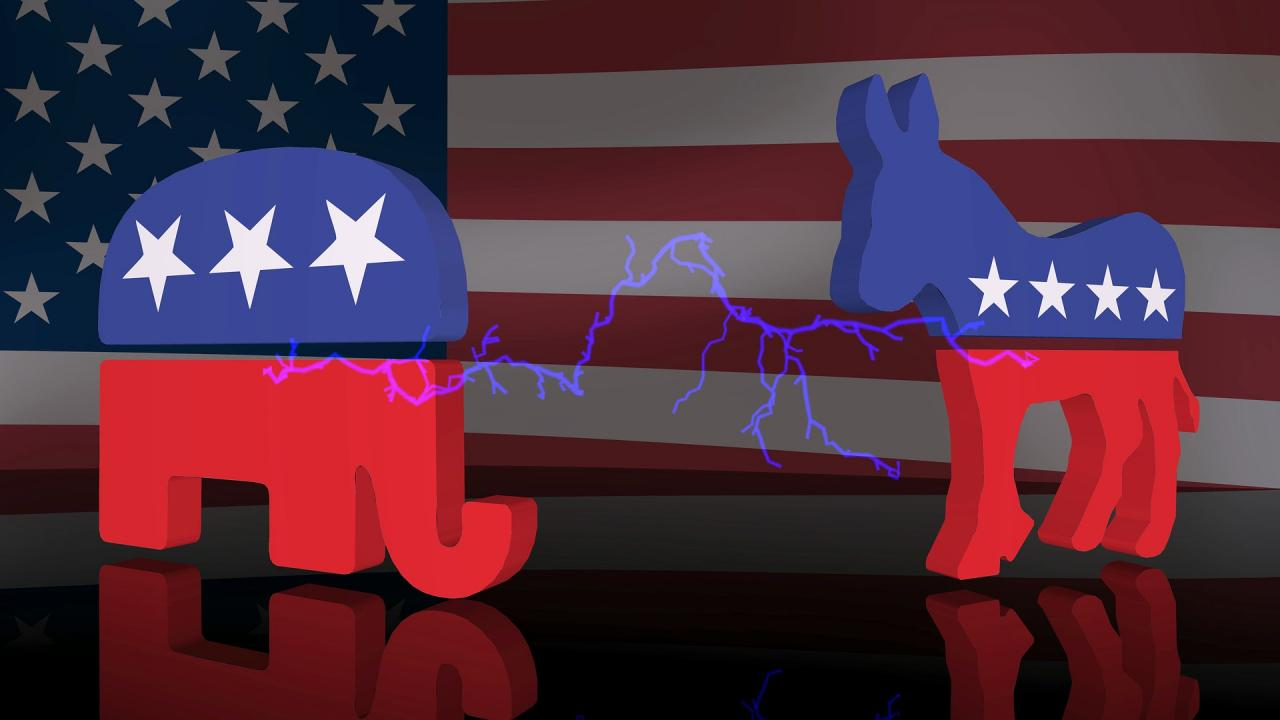 illustration of USA flag, Republican elephant and Democratic donkey with electric sparks between the two party symbols