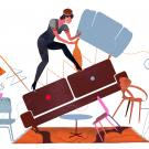 Illustration of woman balancing on a tilting tower of furniture while cleaning house.