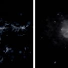 Image of computer simulations of galaxy history