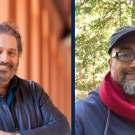 Side by side photos of two UC Davis professors standing outdoors