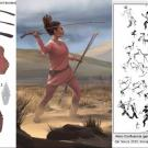 illustrations of stone tools, female hunter and ancient drawings