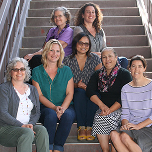 Staff of the UC Davis-based California History-Social Science Project, seated on steps