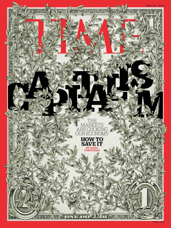 magazine cover illustration showing vines growing over a dollar bill and the word capitalism