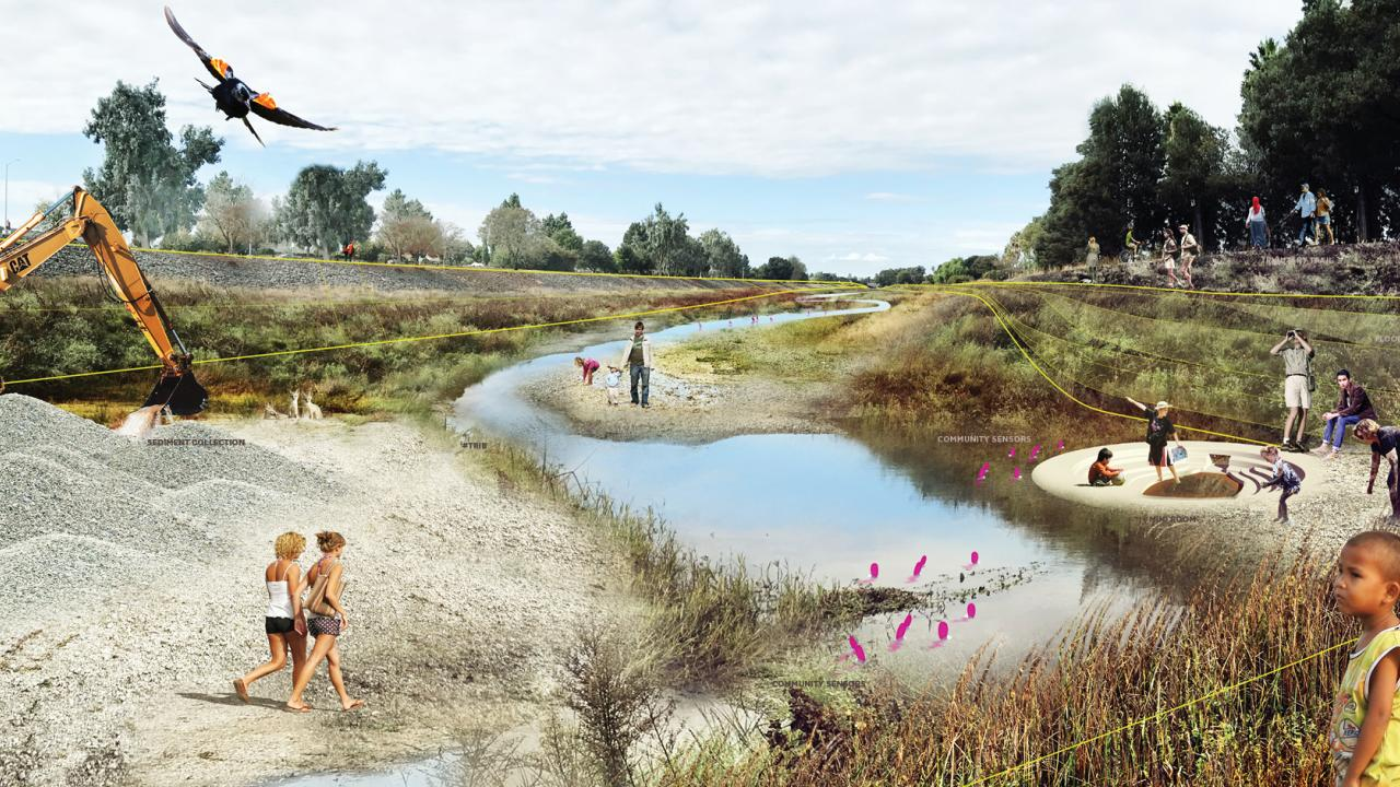 Rendering of what Alameda Creek might look like after Public Sediment project by UC Davis designers
