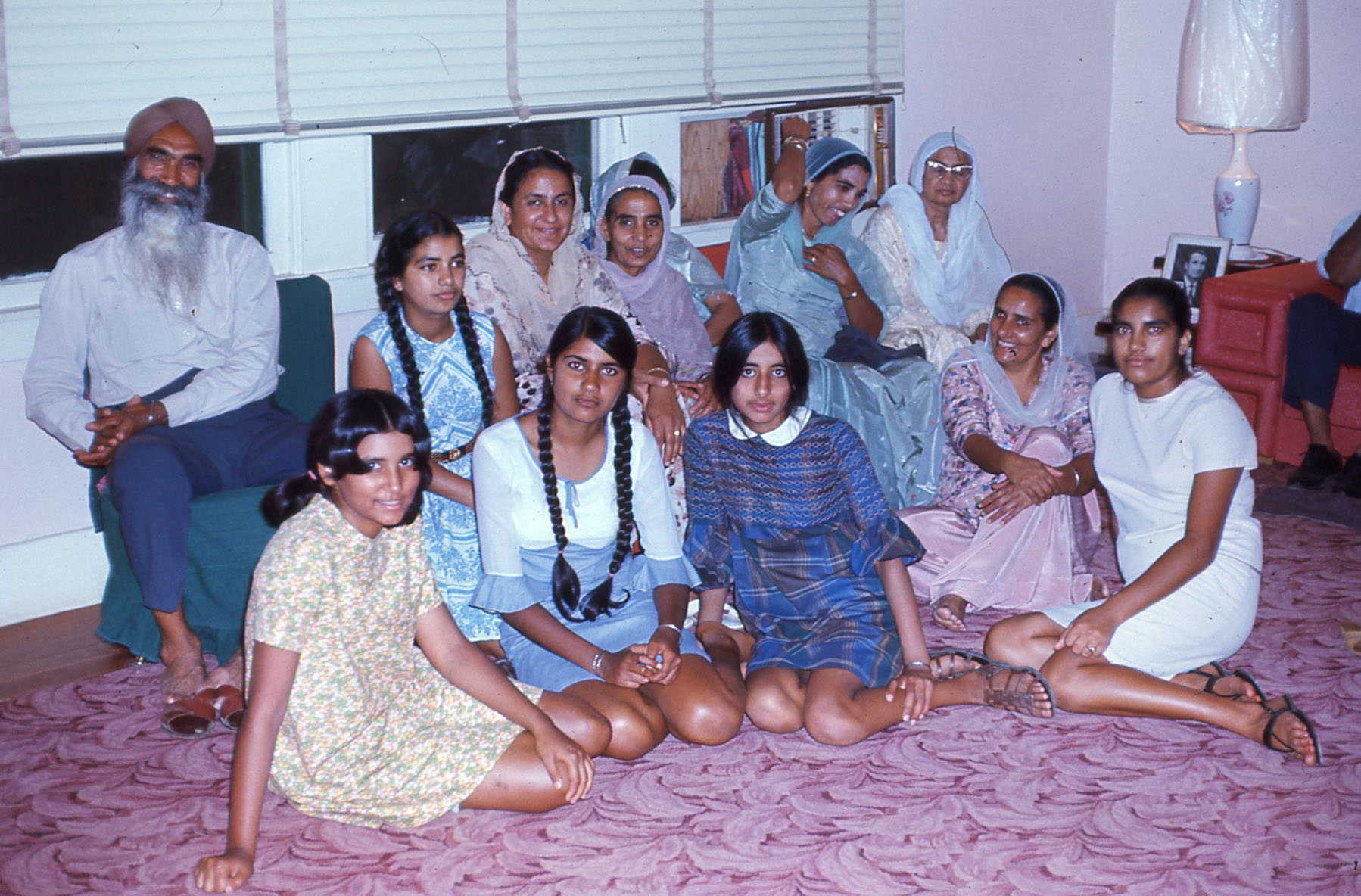 Extended Punjabi family at home in Yuba City, 1967