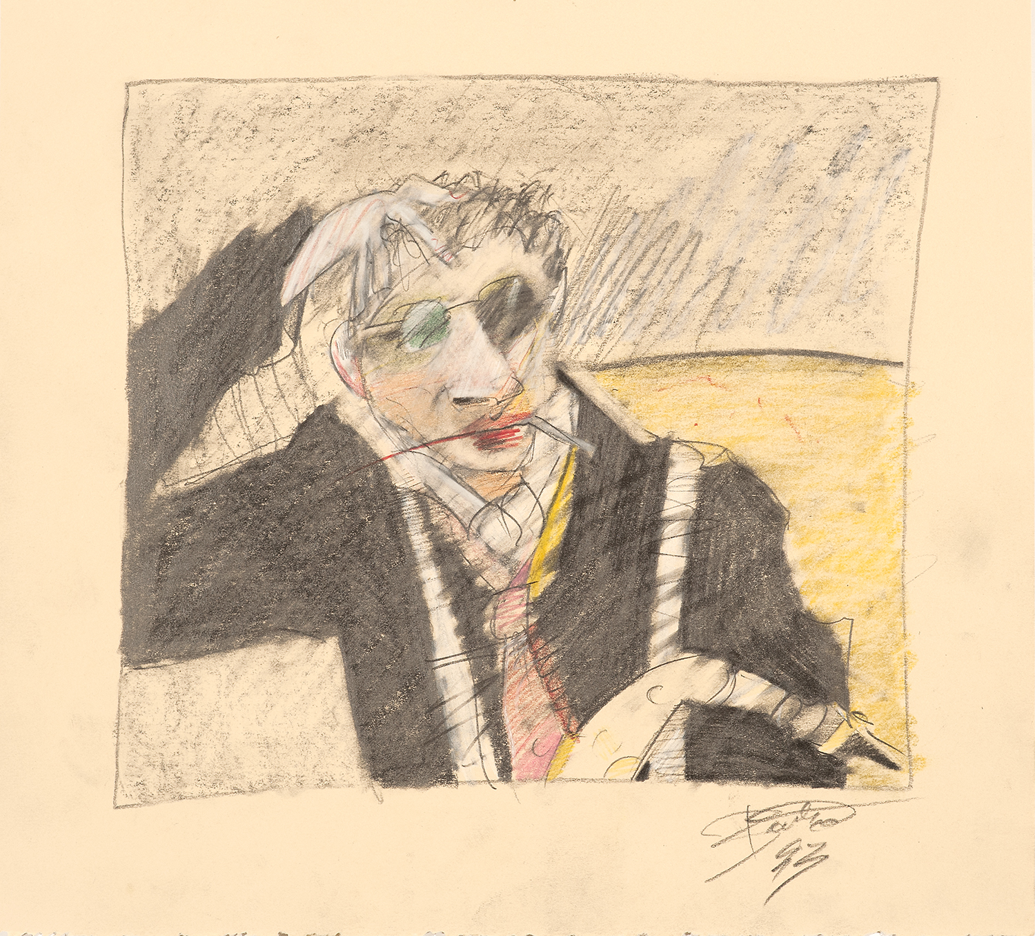 Rick Bartow drawing, Gorman Museum, art