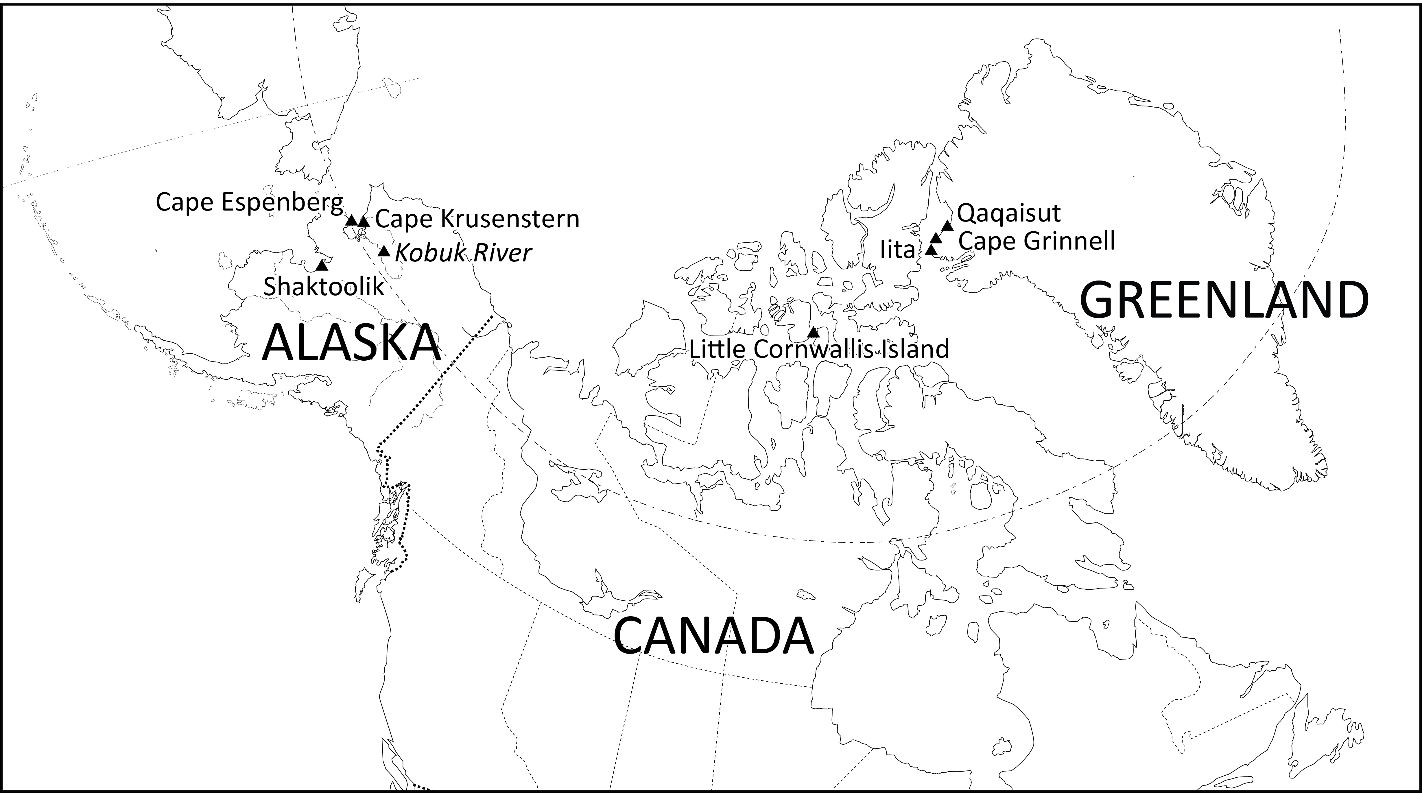 Map showing dig sites in Alaska, Canada and Greenland