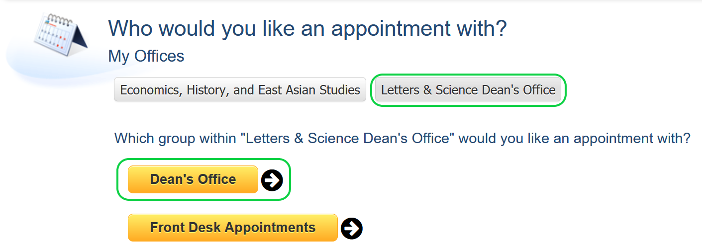 screenshot of appointment selection