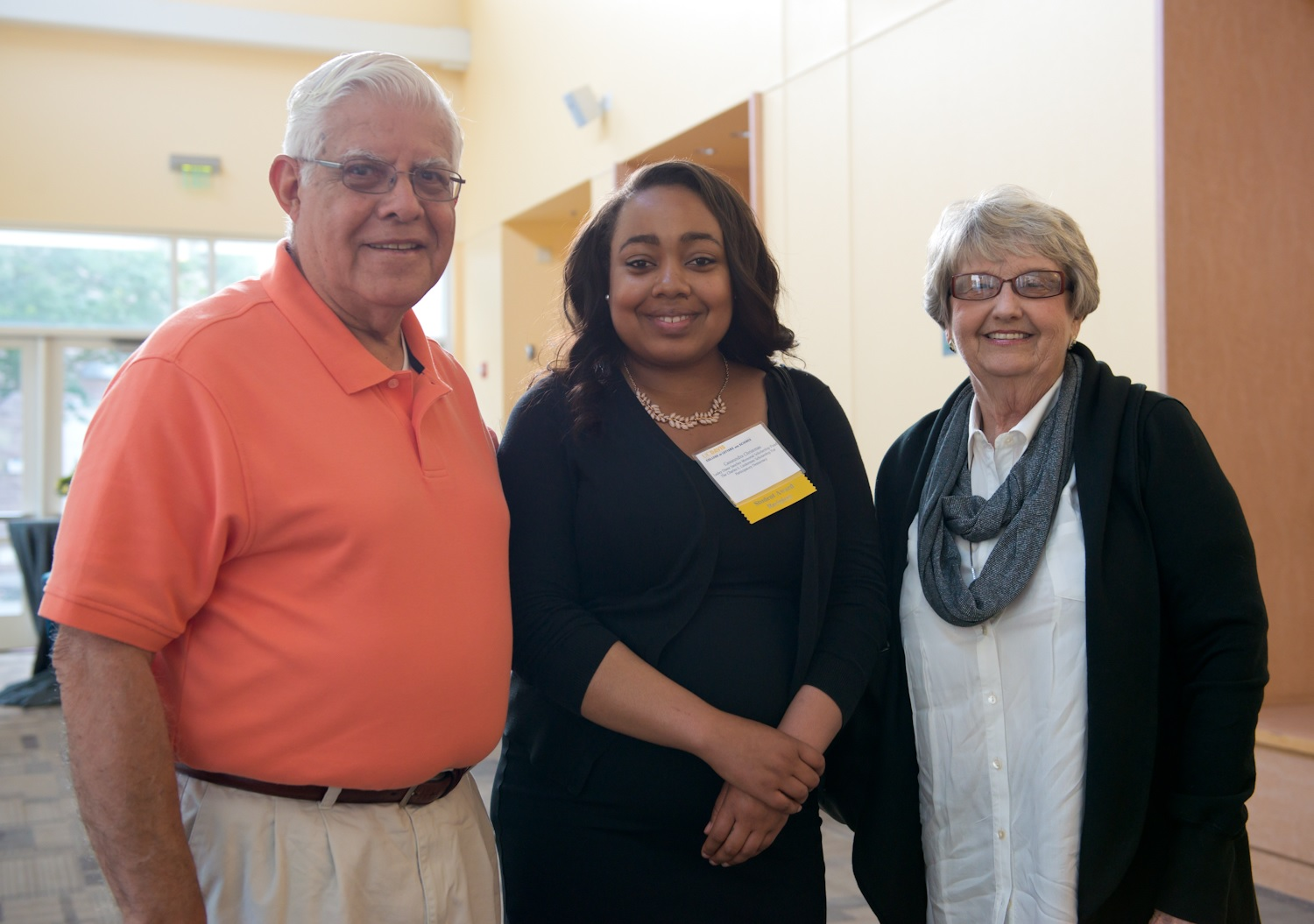 Richard and Patricia Sanchez with Cassaundra Christmas (center), recipient of the Lesley Diane Shanchez Scholarship in 2015.