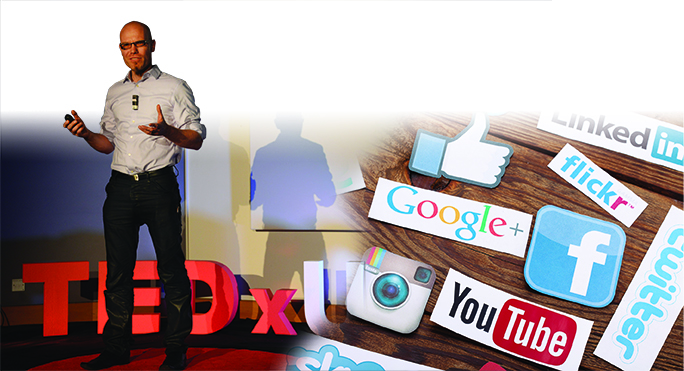Photo montage: Martin Hilbert giving TEDx talk and social media icons