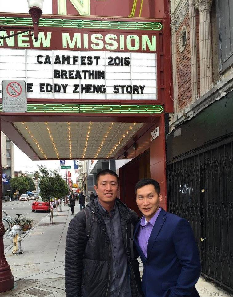Ben Wang and Eddy Zheng outside movie theatre.