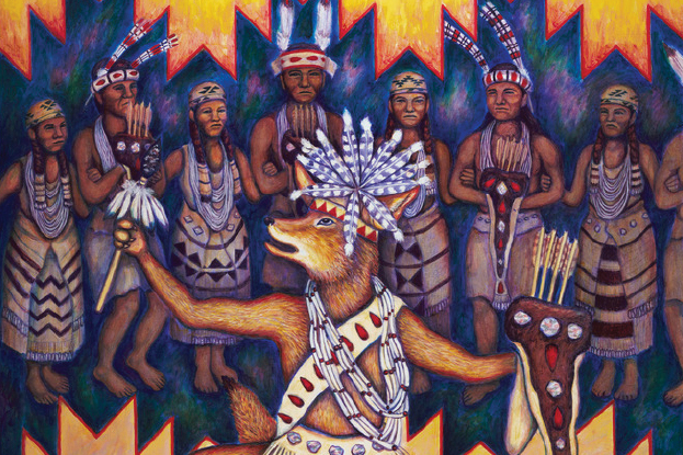 Portion of painting of coyote dancing for Native Americans