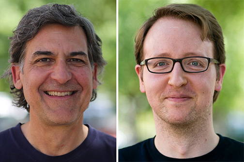 Side by side portrait photos of UC Davis Center for Mind and Brain researchers