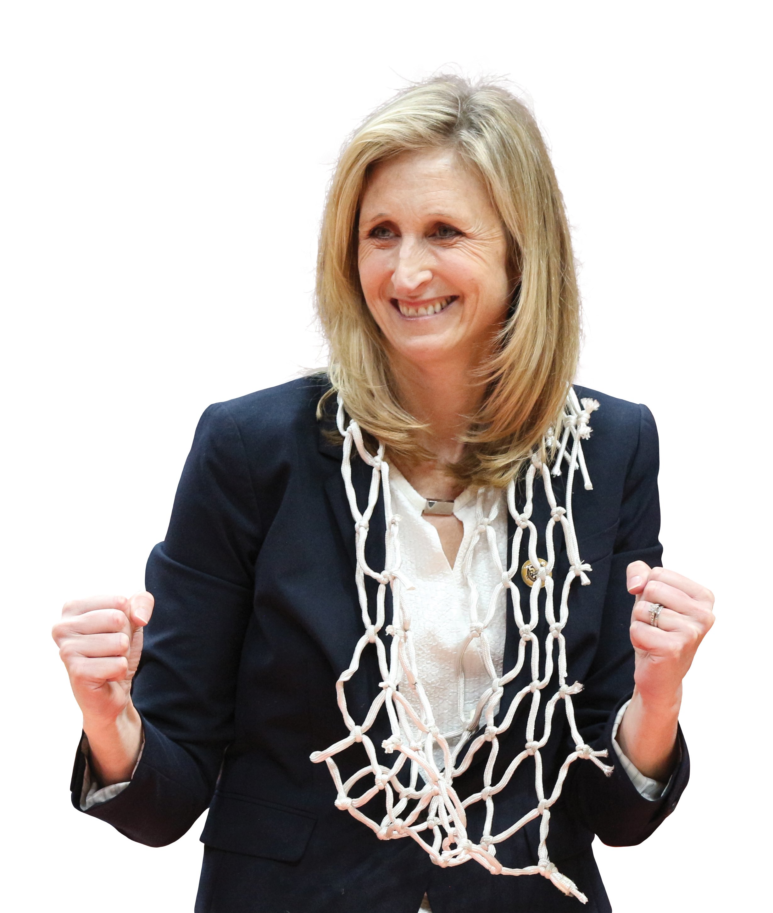 Photo of UC Davis alumna and women's basketball coach Jennifer Gross celebrating with net around her neck