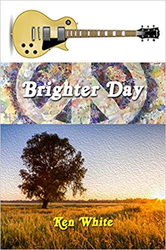 Book cover with three stacked images: an electric guitar, a peace symbol and a tree in a field.