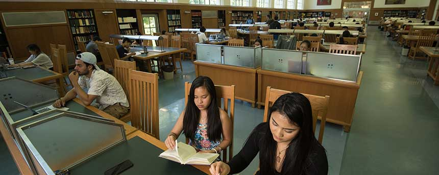 Expect to spend extra hours in the Shields Library Reading Room focused on studying for two majors. (Karin Higgins/UC Davis)