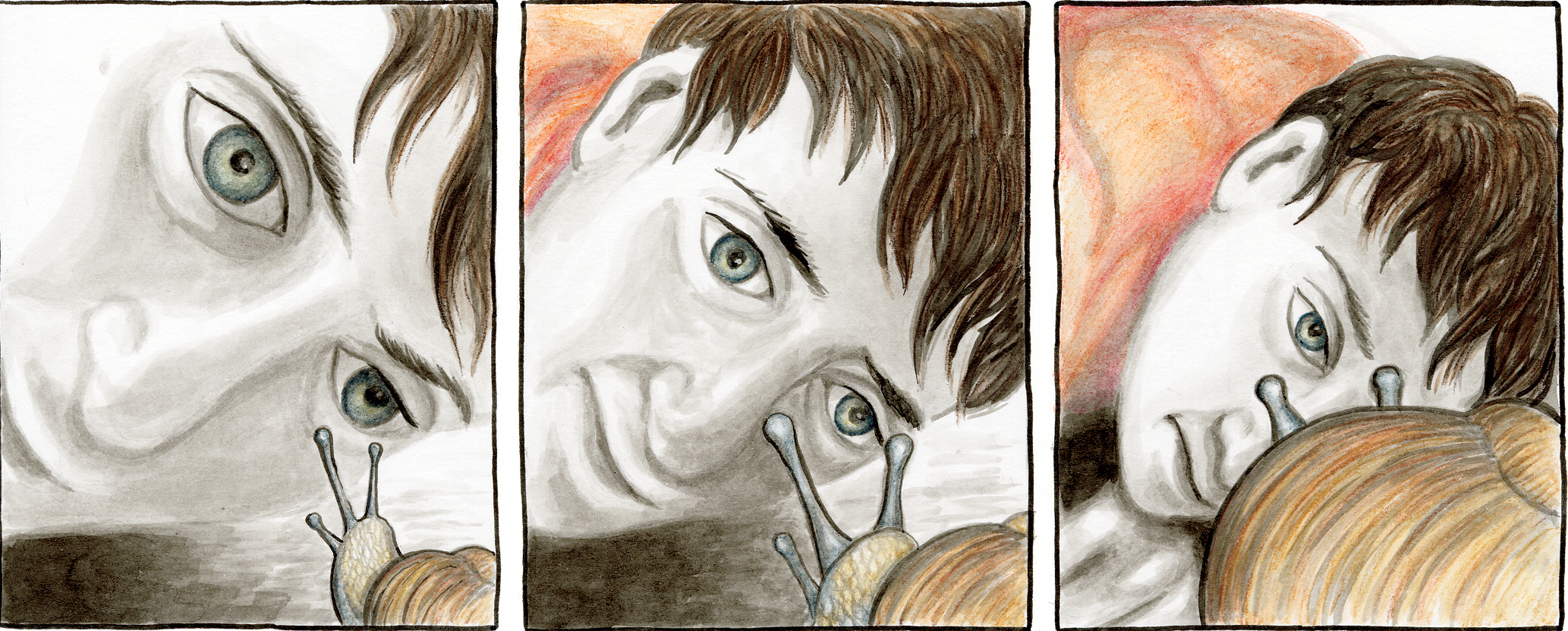 Detail of art by Maureen Burdock, cultural studies student graphic novel image of woman's face with snail, three panels