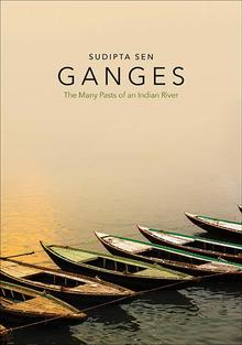 book cover with photo of line of empty boats on the Ganges