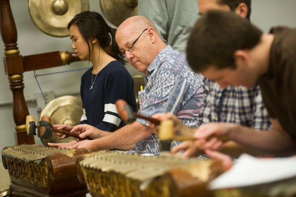 Henry Spiller, music professor, performing with the UC Davis gamelan