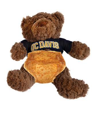 Photo of teddy bear wearing diaper made from kombucha byproduct