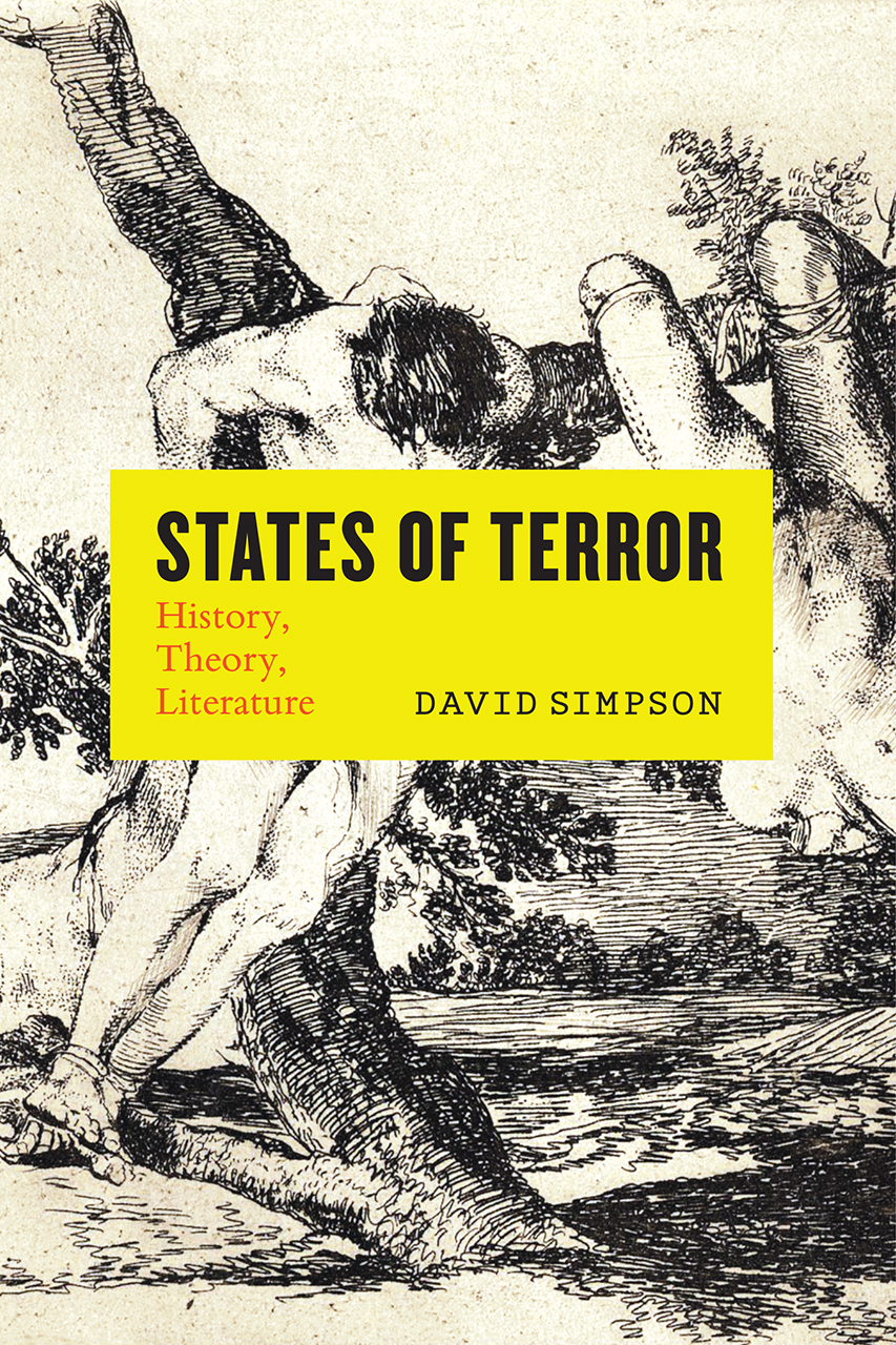 book cover of States of Terror by David Simpson, English professor