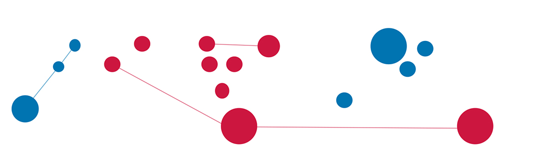 illustration: dots and lines in red and blue colors of political parties