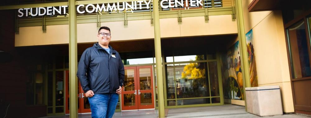 Dave Ivan Cruz (International Relations '19) in front of the Student Community Center