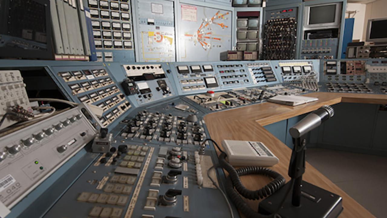 The Crocker Nuclear Laboratory control room.