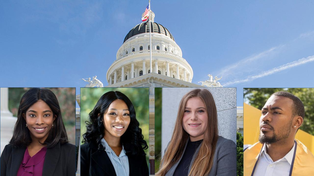 Portrait photos of four alumni in Capital Fellowship Programs over photo of California Capitol building.