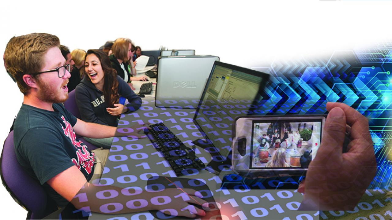 Photo Illustration: collage of students with computers, handheld device
