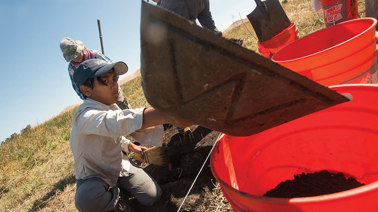 Photo: students digging
