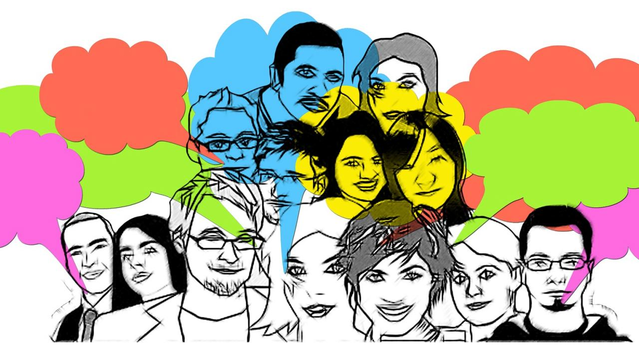 Illustration of a group of people with thought bubbles above their heads.