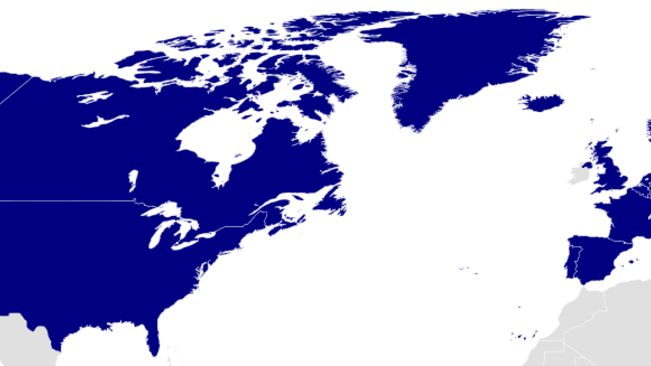 Map showing NATO member countries