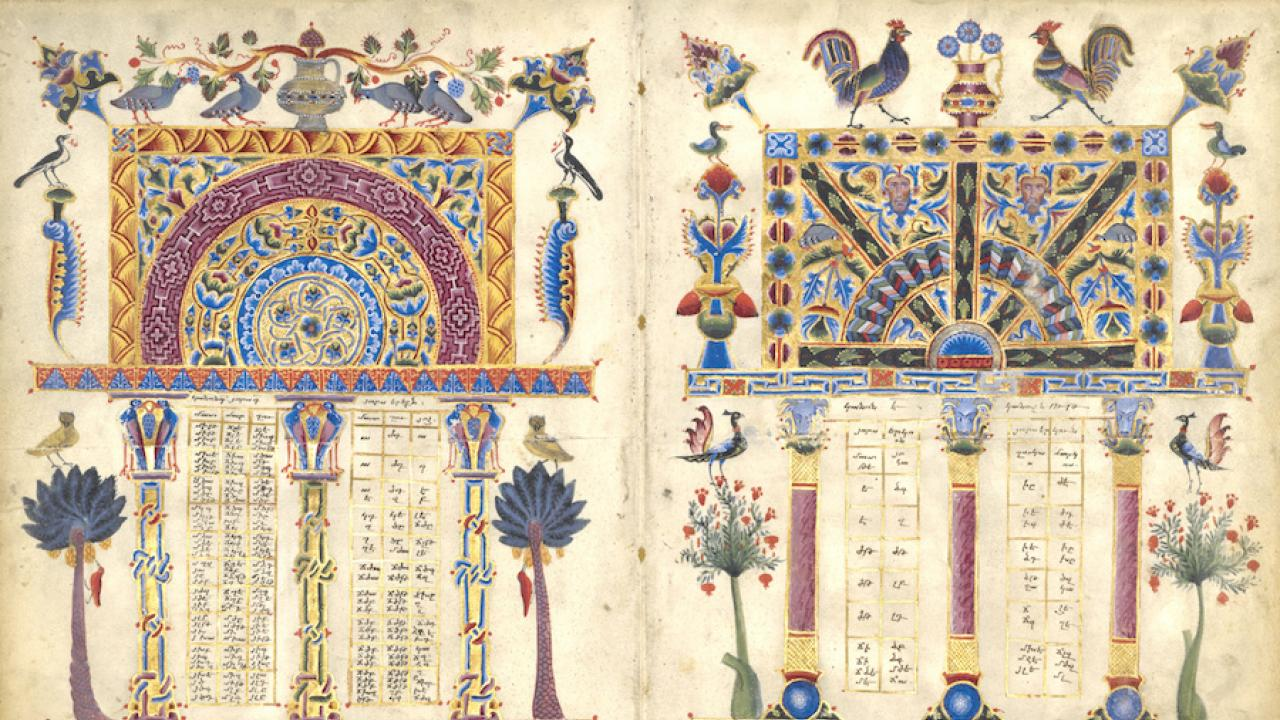 Illustrated pages from a 12th century Armenian manuscript