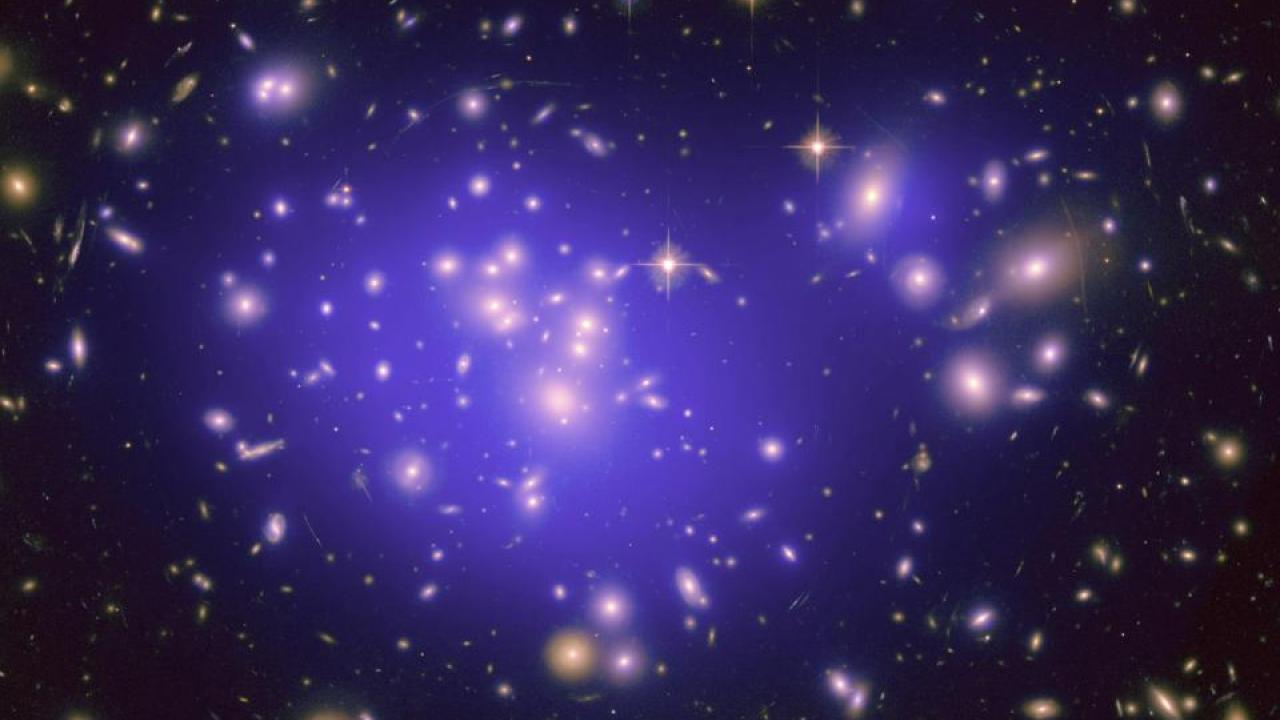 Galaxy cluster image from the Hubble Space Telescope.