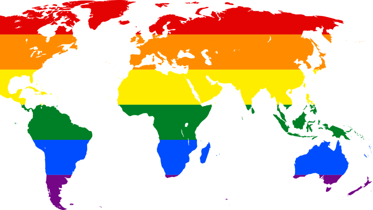 Illustration: world map in rainbow colors