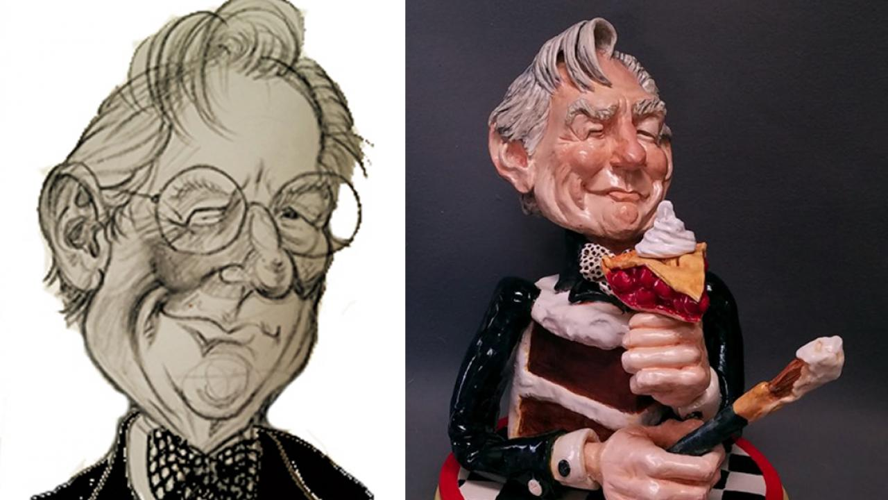 Caricature and sculpture of artist Wayne Thiebaud
