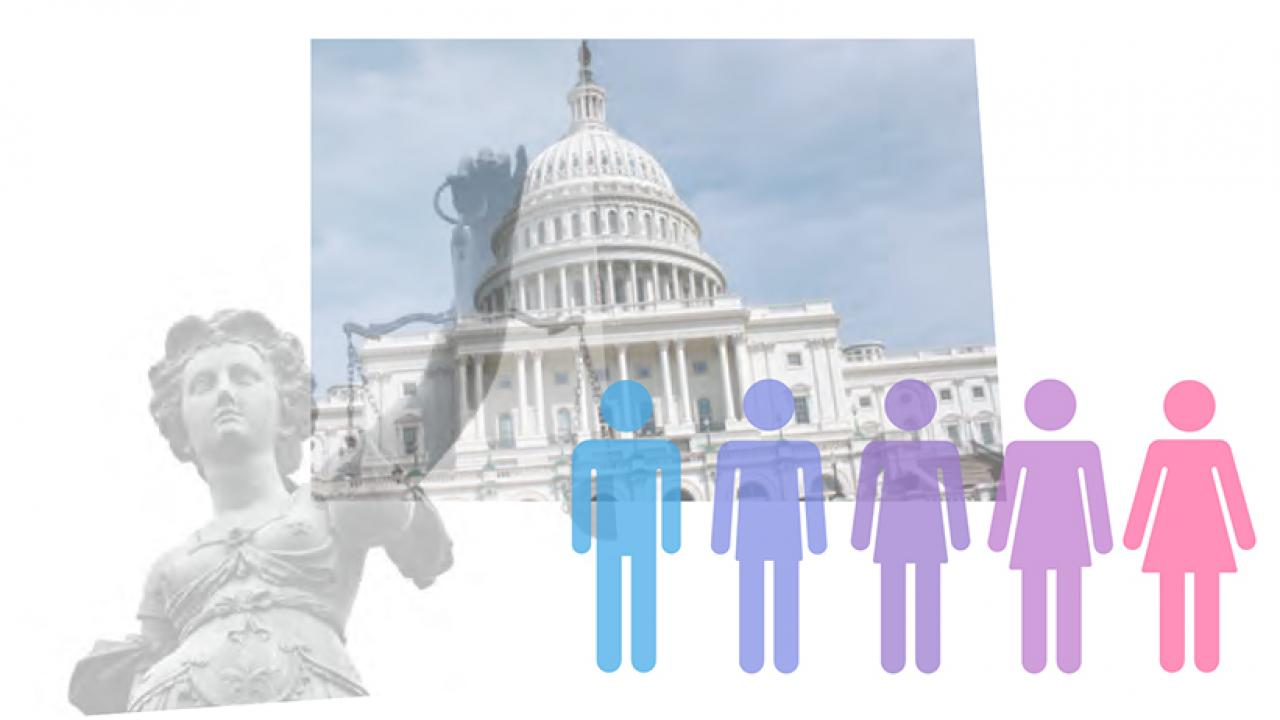 Illustration: Lady Justice, U.S. Capitol and bathroom sign icons shifting from male to female
