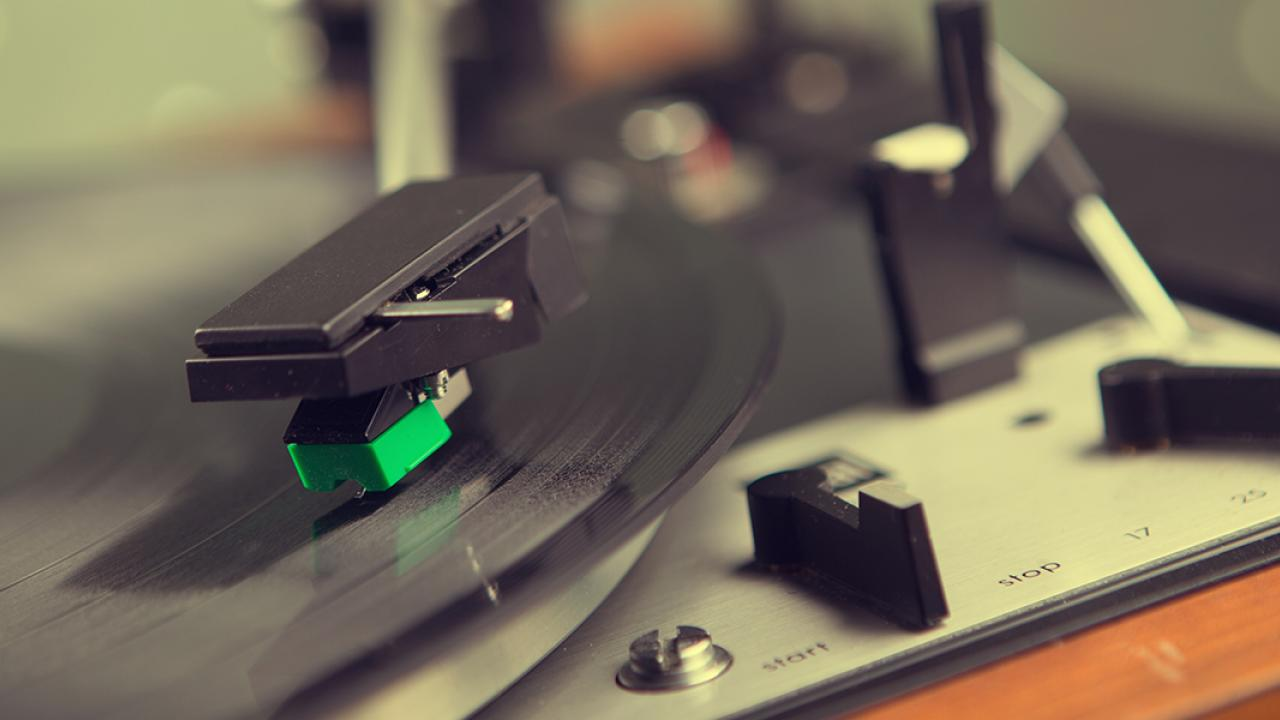 Photo: Album playing on turntable