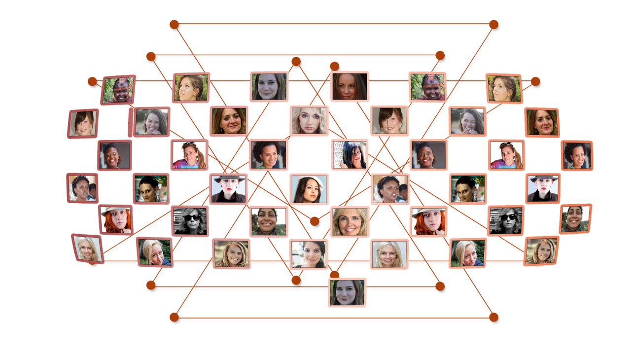Photo montage of people's faces on rectangles over connecting lines