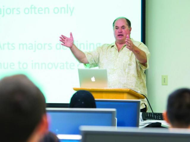 Tim McCarthy talks with students in the Data Studies Program