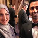 "Sawsan Morrar, left, poses with fellow Aggie and ""The Daily Show"" correspondent Hasan Minhaj, who hosted the White House Correspondents' Association Dinner in 2017 where Sawsan received her scholarship. (Francisco Vara-Orta)"