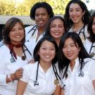 This group of medical students from the Class of 2008 pose for their induction into the School of Medicine at UC Davis. (Debbie Aldridge/UC Davis)