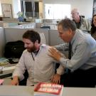Photo: surprised staffers in news room