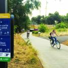 bike path signage in arboretum made by design students