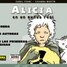 book cover of Spanish language graphic novel Alicia en un mundo real / Alice in the Real World